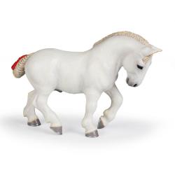 Figurina de colectie Cal alb Percheron. Cal de rasa