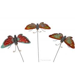 Figurina decorativa  de gradina-ghiveci din metal cu tija Fluture