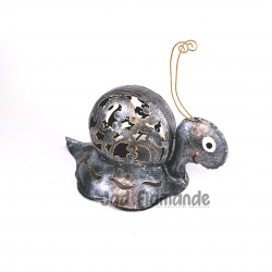 Figurina decorativa de gradina din metal Melc argintiu