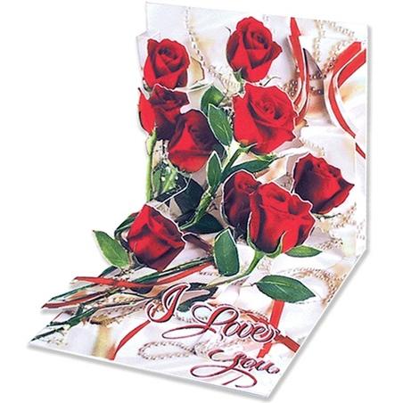 Minifelicitare 3D-Buchet de trandafiri