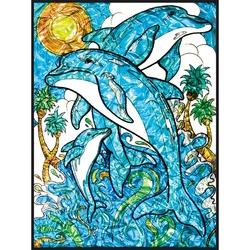 Pictura pe Numere realizata pe folie - Delfini