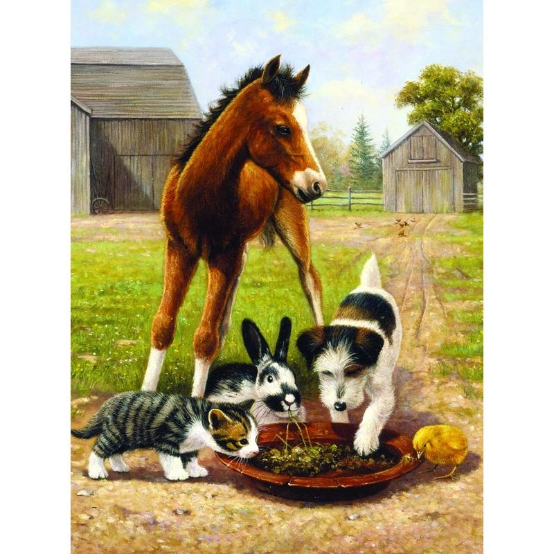 Prima mea pictura pe nr.junior mic- Pranzul cu prietenii 24x33 cm