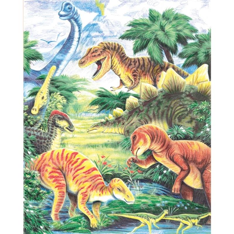 Set creativ educativ - Coloreaza pe numere - Dinozauri