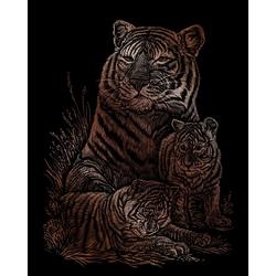 Set gravura pe folie din cupru - Tigrii