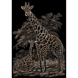 Set gravura pe folie din cupru - Girafe