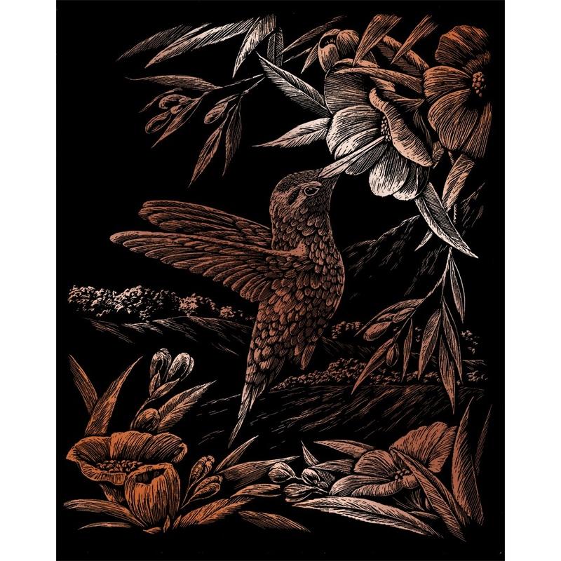 Set gravura pe folie din cupru - Colibri