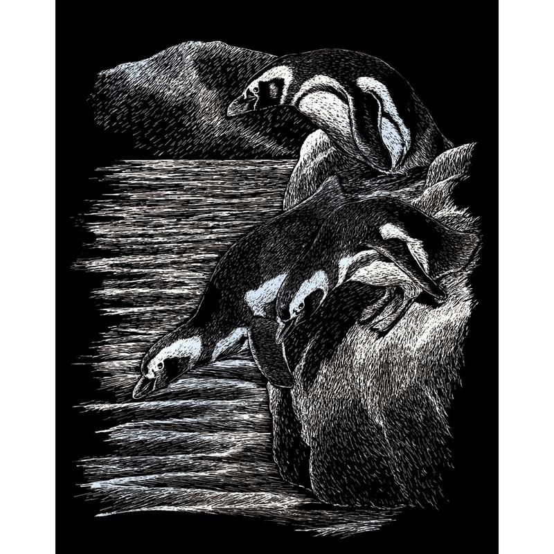 Set gravura pe folie argintie - Pinguini