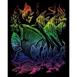 Set gravura pe folie curcubeu - Pesti tropicali