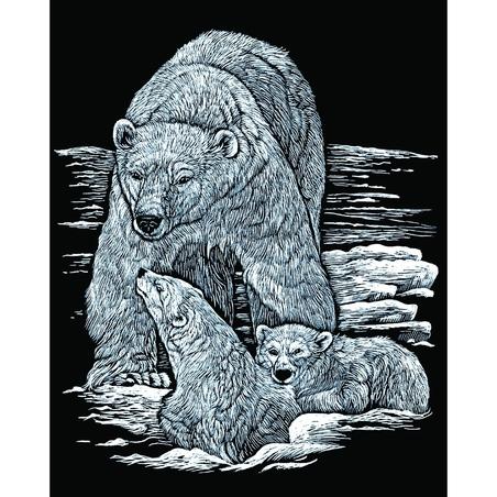 Set 3 gravuri folie argintie Viata polara
