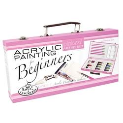 Trusa pictura culori acrilice pentru incepatori Pink Art