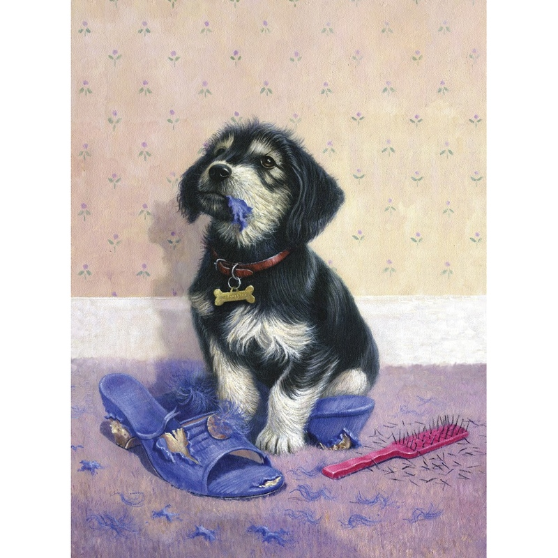 Prima mea pictura pe nr.junior mic - Catelus rau