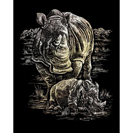 Set 3 gravuri folie aurii Animale salbatice din Africa